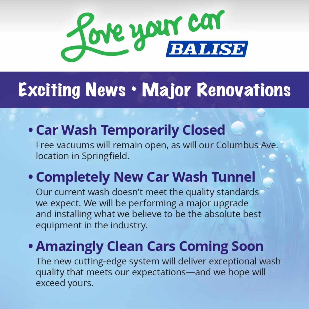 Car Wash Temporarily Closed for Renovations